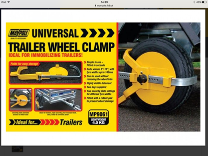 """Picture of 8"""" - 10"""" Trailer Wheel Clamp"""